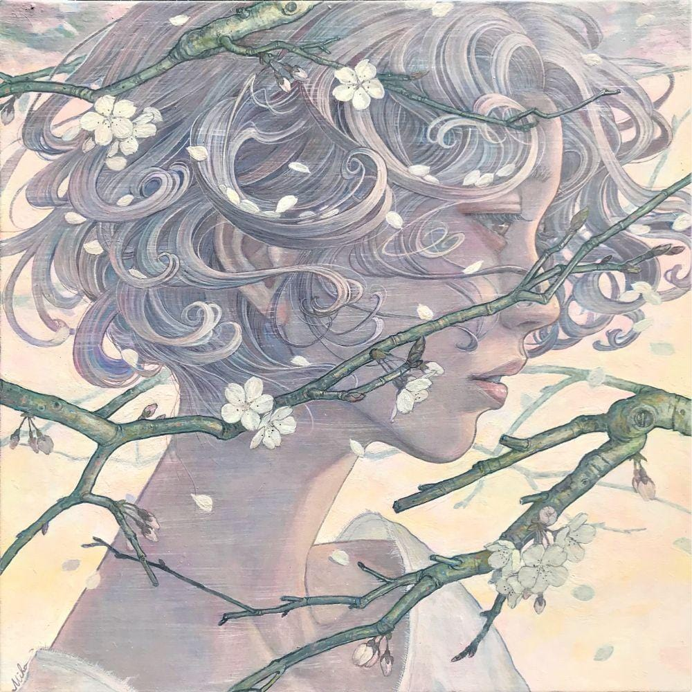 "Miho Hirano - ""Spring Breeze Blowing Through"" - oil on canvas - 33.4 x 33.4cm (13""x13"")"