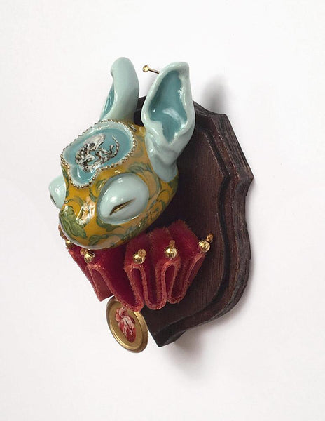 "Miso - ""Nesting"" - resin, acrylic and oil paint, brass, velvet fabric and beads - 4.4 x 5.1cm (1.75""x2"")"