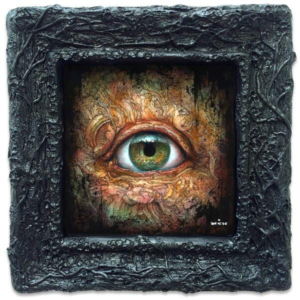 "N.C. Winters - ""Persistent Gaze"" - ink, acrylic on wood panel, framed with custom hand sculpted frame - 22.9 x 22.9cm (9""x9"") with frame"