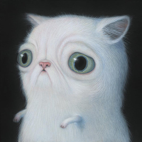 "Renee French - ""Saturn Coloured Cat"" - acrylic on board - 15.2 x 15.2cm (6""x6"")"