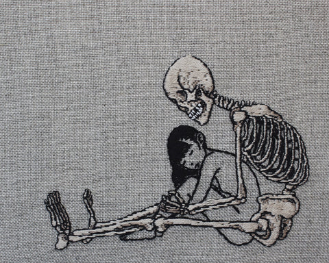 "Adipocere - 'Repose' - hand embroidery on natural linen, cotton thread - 19.5 x 17.5cm (7.6""x6.8"")"