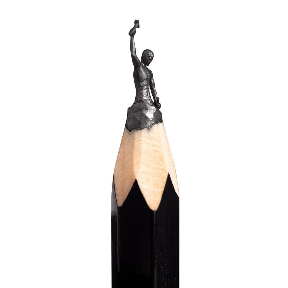 "Salavat Fidai - 'Self Made Man' - pencil micro-sculpture - 0.5cm (0.2"")"