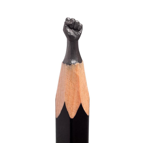 "Salavat Fidai - 'Fist' - pencil micro-sculpture - 0.5 x 1.5cm (0.2""x0.6"")"