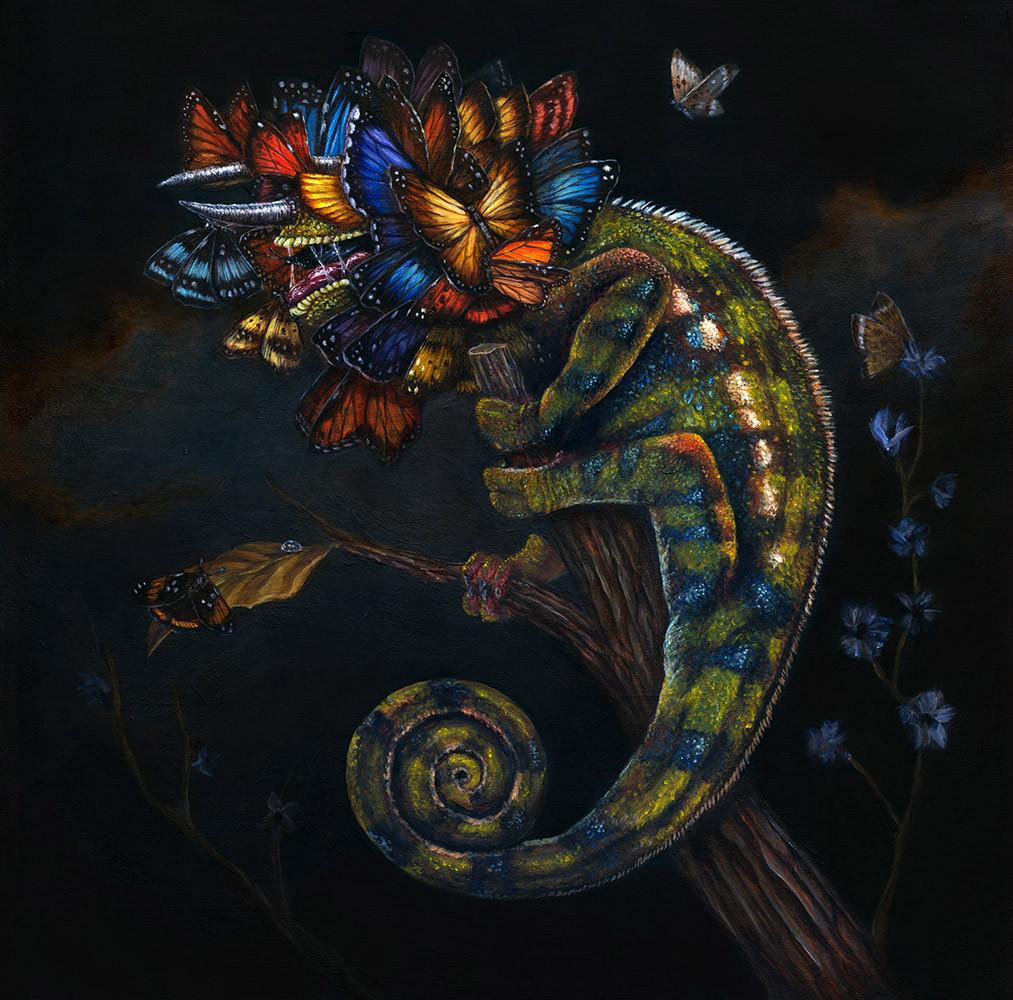 "Sam Yong - ""Masquerade"" - acrylic on wood panel - 40 x 40 cm (15.7""x15.7"")"