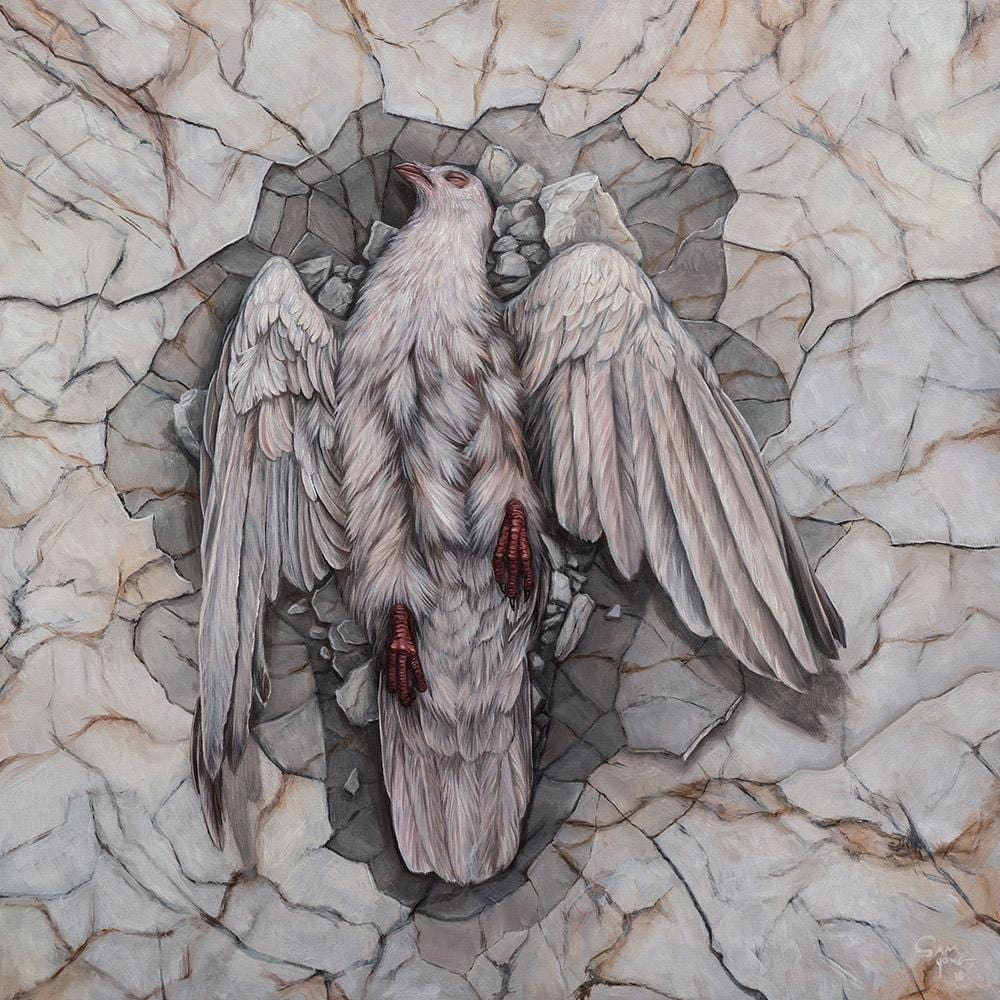 "Sam Yong - ""Fallen"" - oil on wood panel - 40 x 40cm (15.7""x15.7"")"