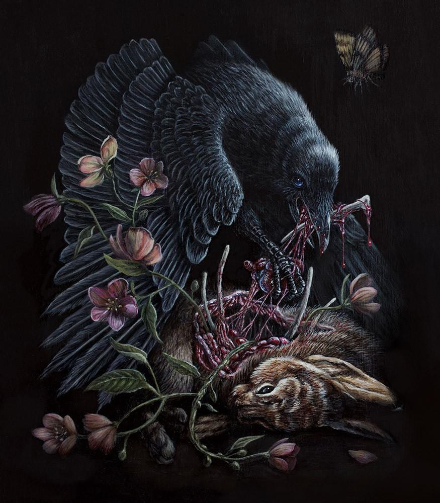 "Sam Yong - ""The Tell-Tale Heart"" - acrylic on wood panel - 35 x 45 cm (13.8""x17.7"")"