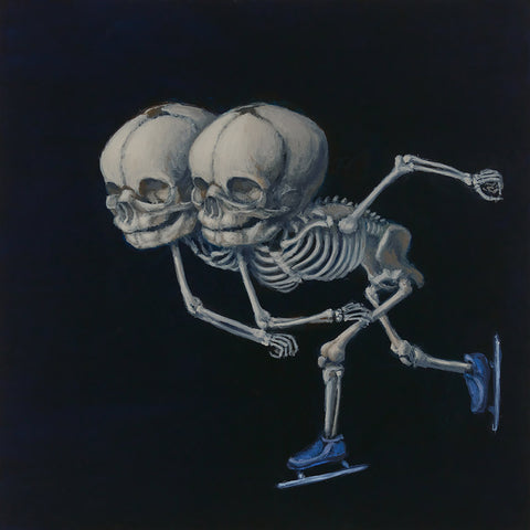 "Sandra Yagi - ""Speed Skating Twins"" - oil on panel - 20.3 x 20.3cm (8""x8"")"