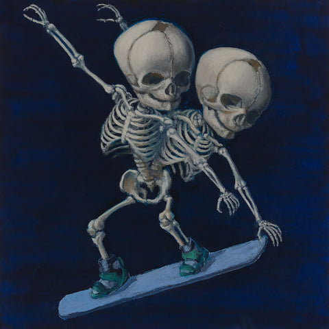"Sandra Yagi - ""Snow Boarding Twins"" - oil on panel - 20.3 x 20.3cm (8""x8"")"