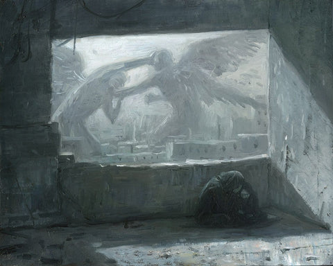 "Shaun Tan - ""Angels"" - oil on board - 25 x 20cm (9.8""x7.9"")"