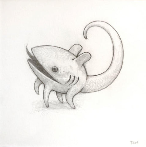 "Shaun Tan- ""Companion Animal"" - pencil on paper - 15 x 15cm (5""x5"")"