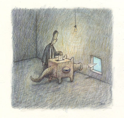 "Shaun Tan - Thank you for Voting (2018) - coloured pencil and ballpoint pen on paper - 16 x 16cm (6.3""x6.3"")"