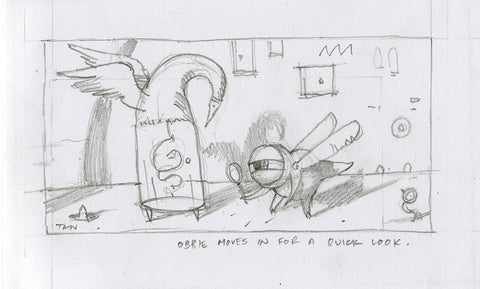 "Shaun Tan - Lost Thing film storyboard panel: Obstetric appointment (2006) - pencil on paper - 13 x 9cm (5.1""x3.5"")"