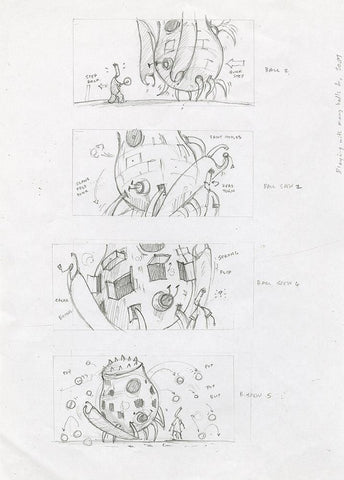"Shaun Tan - Lost Thing film storyboard: Ball Play (2005) - pencil on paper - 21 x 29.7cm (8.3""x11.7"")"