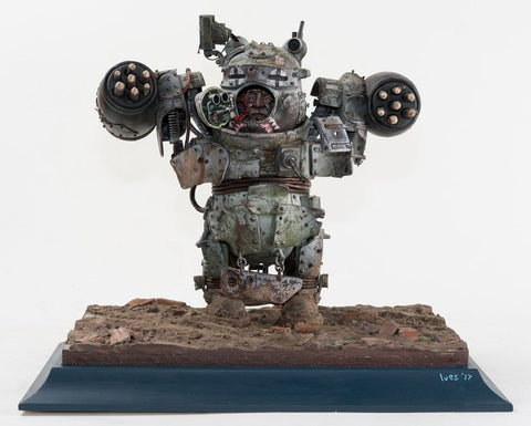 "Stephen Ives - ""Mk 3B Pooh Trooper 'Heavy'"" - Mixed media Bricolage including metal, plastic toy and model parts, poly pipe, plaster, polymer clay, glue, wire, aluminium, sprays and paints - 39 x 30 x 33cm  (15.4""x11.8""x13"")"