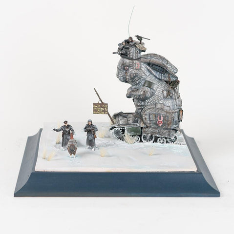 "Stephen Ives - ""Kaninchenpanzer MiT (2AUC3)"" - Mixed media Bricolage including metal, plastic toy and model parts, plaster, polymer clay, glue, wire, aluminium, sprays and paints - 31 x 28 x 26cm  (12.2""x11""x10.2"")"