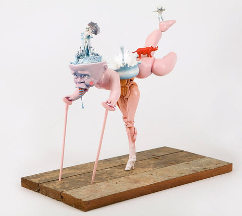 "Stephen Ives - ""Moaner (Palatial Disappointment)"" - Mixed media Bricolage including Barbie and doll parts, chopsticks, metal, plastic toy and model parts, polymer clay, glue, wood, wire, aluminium, sprays and paints - 28 x 22 x 42cm (11""x8.7""x16.5"")"