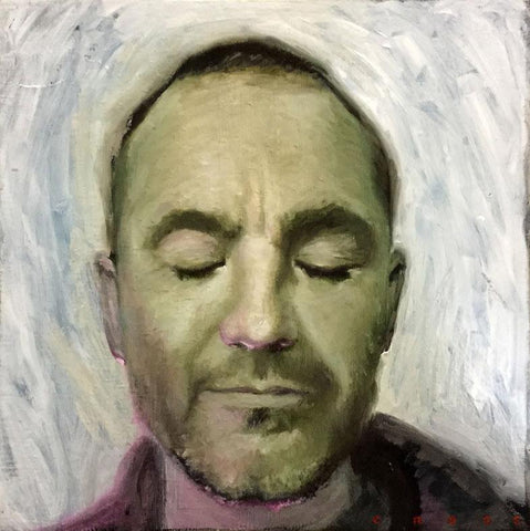 "Steve Cross - ""Silence"" - oil on board - 15.2 x 15.2cm (6""x6"")"