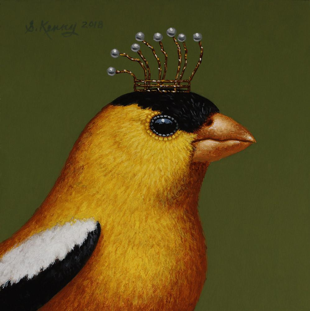 "Steven Kenny - 'Royal Goldfinch' - oil on panel - 18.5 x 18.5cm (7.3""x7.3"")"
