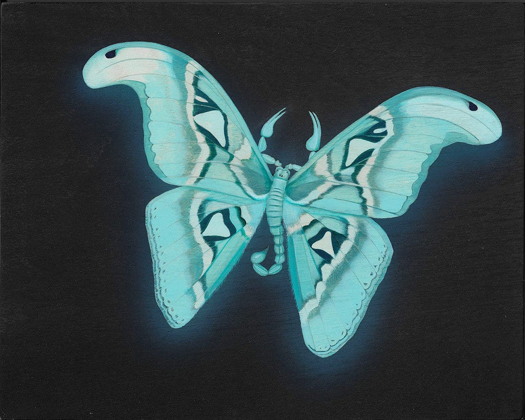 "Tiffany Bozic - 'Glowing Atlas Moth' -  glow in the dark acrylic on panel - 20.3 x 25.4cm (8""x10"")"