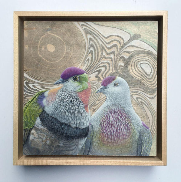 "Tiffany Bozic - ""Unlikely Lovers"" - acrylic on maple panel - 23 x 23cm (9""x9"")"