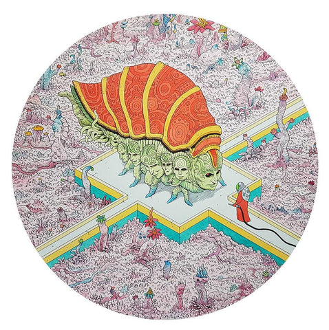 "Tim Molloy - ""Feeding Time"" - watercolour and indian ink on watercolour paper. 32.5cm diameter (12.8"")"