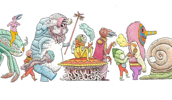 "Tim Molloy - ""Strange Parade 1"" - watercolour and indian ink on watercolour paper. 14 x 48.5cm (5.5""x19"")"