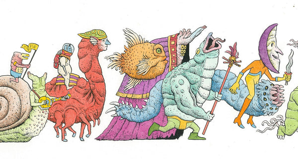 "Tim Molloy - ""Strange Parade 2"" - watercolour and indian ink on watercolour paper. 14 x 48.5cm (5.5""x19"")"
