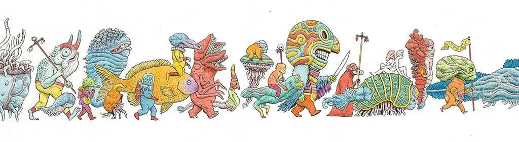 "Tim Molloy - ""Strange Parade 3"" - watercolour and indian ink on watercolour paper. 14 x 48.5cm (5.5""x19"")"