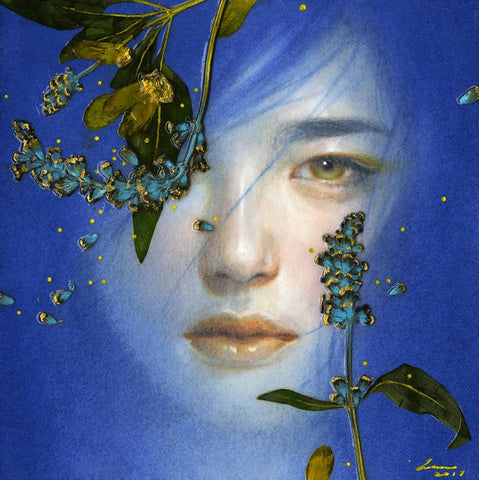 "Tran Nguyen - ""Tear Meadows"" - acrylic, colored pencil & pressed flower on paper - 12.7 x 12.7cm (5""x5"")"