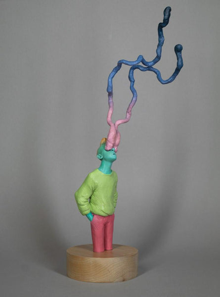 "Troy Coulterman - ""I've Come to Reach Out Blind""- painted resin - 5.5 x 5.5 x 10.5cm (14""x14""x26.6"")"
