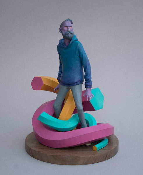 "Troy Coulterman - ""Respawned""- painted resin - 22.8 x 22.8 x 31.7cm (9""x9""x12.5"")"