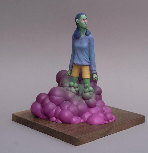 "Troy Coulterman - ""Watching and Waiting""- painted resin - 28 x 28 x 33cm (11""x11""x13"")"