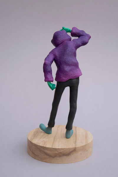 "Troy Coulterman - ""Which Way?""- painted resin - 19 x 19 x 35.5cm (7.5""x7.5""x14"")"