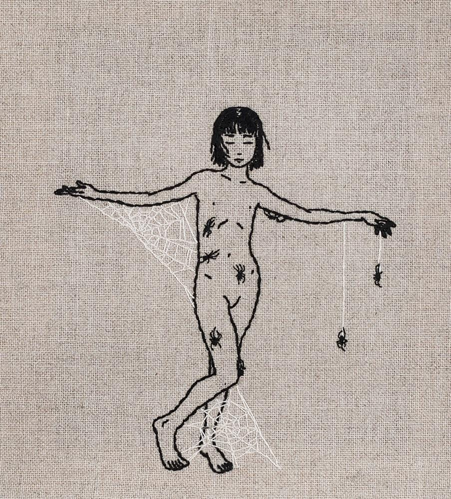 "Adipocere - ""Natural Crucifixion"" - hand embroidery on natural linen, cotton thread - 21.5 x 24cm (8.5""x9.5"")"