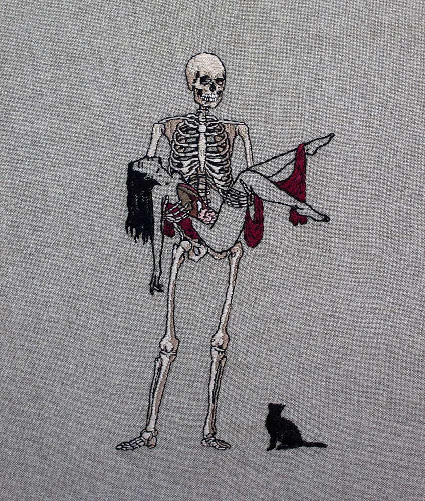 "Adipocere - ""Anatomical Venus"" - hand embroidery on natural linen, cotton thread - 26 x 36cm (10.2""x14.2"")"