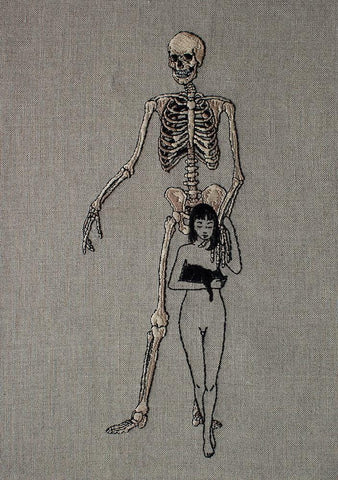 "Adipocere - ""Death and the Maiden"" - hand embroidery on natural linen, cotton thread - 38.1 x 50.8 cm (15""x20"")"
