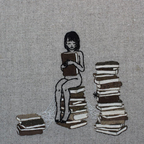 "Adipocere - ""The Librarian"" - hand embroidery on natural linen, cotton thread. Float mounted within wooden frame - 18 x 18cm (7""x7"")"