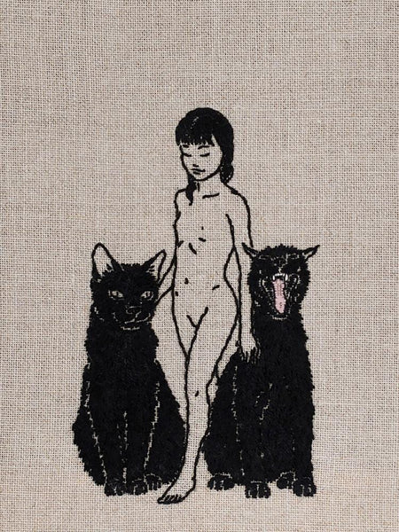 "Adipocere - ""Brood"" - hand embroidery on natural linen, cotton thread - 21 x 23.5cm (8.3""x9.3"")"