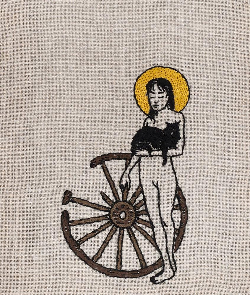 "Adipocere - ""Catherine of the Wheel"" - hand embroidery on natural linen, cotton thread - 19 x 22.5cm (7.5""x8.9"")"
