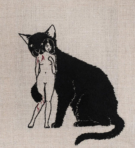 "Adipocere - ""Consecration"" - hand embroidery on natural linen, cotton thread - 20.5 x 23cm (8.1""x9.1"")"