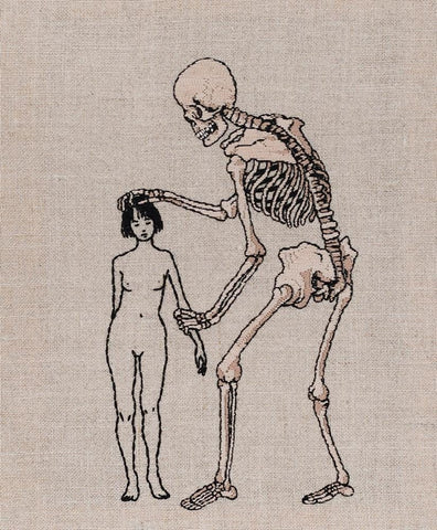 "Adipocere - ""Danse macabre"" - hand embroidery on natural linen, cotton thread - 23 x 28.5cm (9.1""x11.2"")"