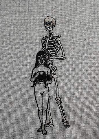 "Adipocere - ""With Me Then""-hand embroidery on natural linen, cotton thread. Float mounted. - 18.5 x 24.5cm (7.3""x9.6"")"