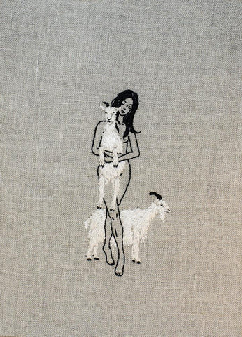 "Adipocere - ""Kith and Kin"" - hand embroidery on natural linen, cotton thread - 19 x 27.9cm (7.5""x11"")"