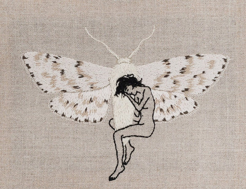 "Adipocere - ""Metamorphosis"" - hand embroidery on natural linen, cotton thread - 26 x 20.5cm (10.2""x8.1"")"
