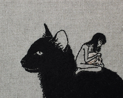 "Adipocere - ""Obsequy"" - hand embroidery on natural linen, cotton thread - 17 x 15.5cm (6.7""x6.1"")"