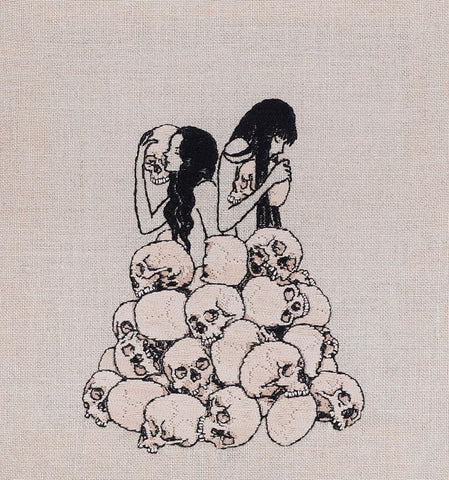 "Adipocere - ""Ossuary"" - hand embroidery on natural linen, cotton thread - 23 x 24.5cm (9.1""x9.6"")"