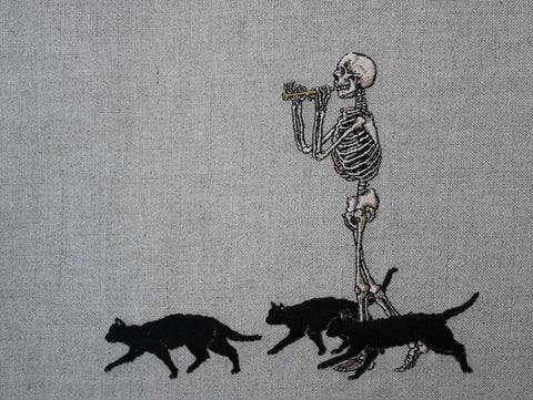 "Adipocere - ""The Pied Piper"" - hand embroidery on natural linen, cotton thread. Float mounted within wooden frame - 27 x 23cm (10.6""x9"")"