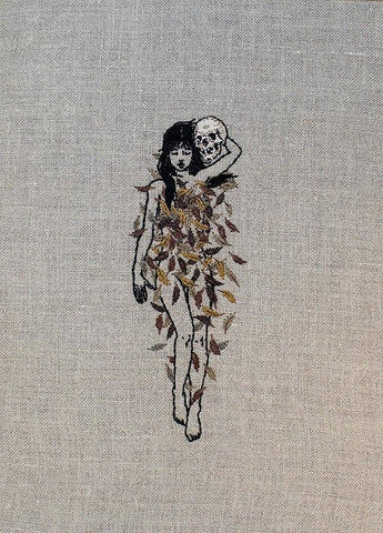 "Adipocere - ""Pre-Winter Lookbook"" - hand embroidery on natural linen, cotton thread - 19 x 27.9cm (7.5""x11"")"