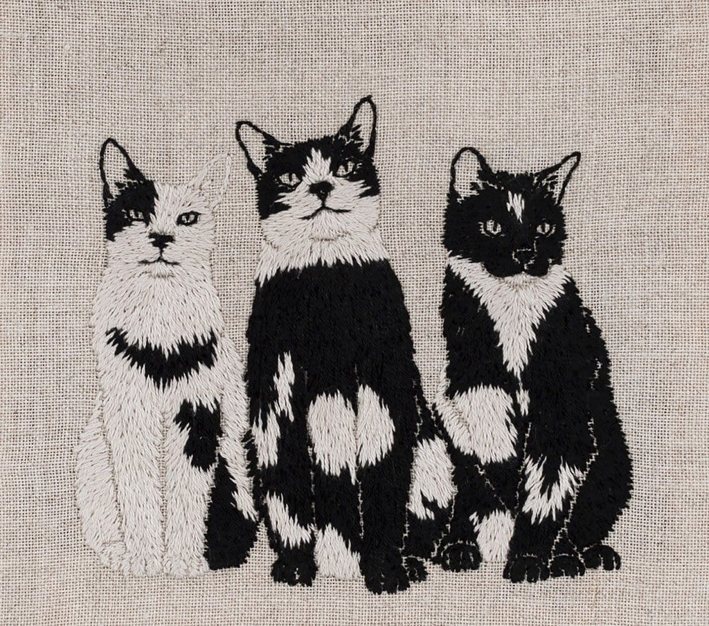 "Adipocere - ""Rule of Three"" - hand embroidery on natural linen, cotton thread - 22.5 x 20.5cm (8.9""x8.1"")"