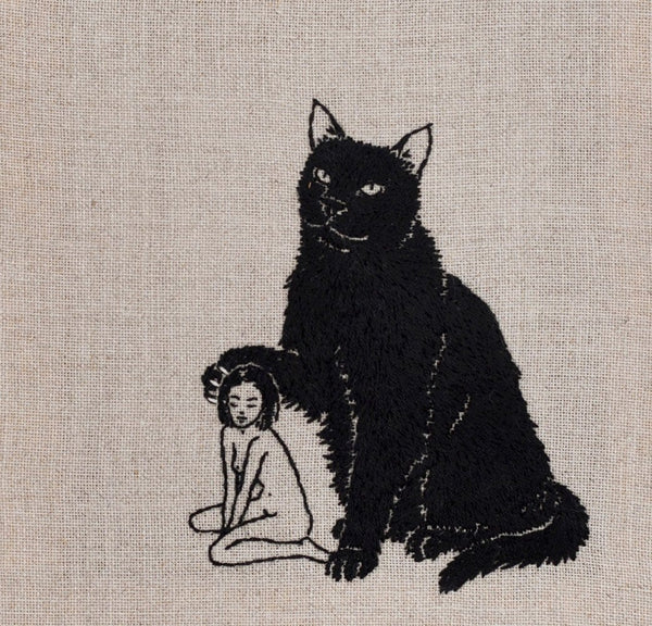 "Adipocere - ""Sequestered"" - hand embroidery on natural linen, cotton thread - 20.5 x 22.5cm (8.1""x8.9"")"